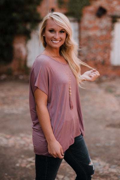 let them eat cake beaux boyfriend tee, let them eat cake, beaux tee, mauve tee, Peace love cake tees,  peace love cake cake, womens mauve tops, womens trendy fashion, womens affordable fashion, cs clothing co, c&s clothing co, online boutique, fast and free shipping, free shipping