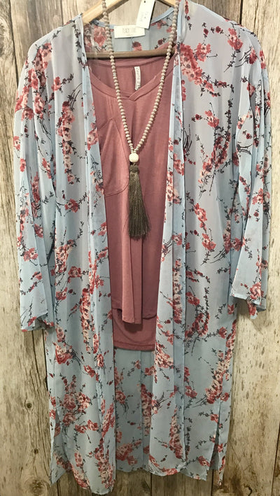 blue floral kimono, cherry blossom kimono, colored kimono, long kimono, light blue long kimono, womens long kimono, long kimonos, peach love kimono, cs clothing co, c&s clothing co, online boutique, fast and free shipping, free shipping