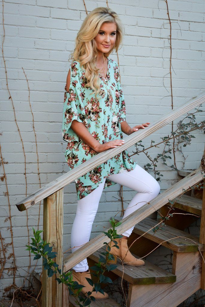 let them eat cake, let them eat cake jenny boo tunic, Peace love cake tunic, Peace love cake, womens mint floral, mint tunic, skull tunic, open shoulder mint tunic, open shoulder tunic, tunic, womens mint tunics, cs clothing co, c&s clothing co, womens trendy fashion, womens affordable fashion, online boutique, fast and free shipping, free shipping