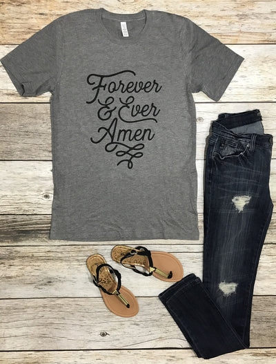 forever & ever amen tee, grey graphic, heather grey graphic, womens graphic tees, womens tees, free shipping