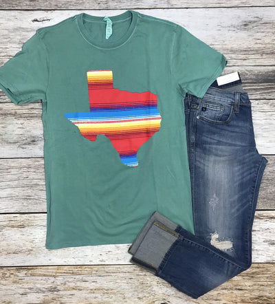 state of texas serape tee, green graphic tee, graphic tees, texas graphic tees, free shipping