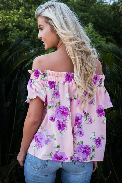 luau off the shoulder, Peace love cake, womens peach floral off the shoulder, floral off the shoulder top, off shoulder top, summer tops, let them eat cake tops, cs clothing co, c&s clothing co, online boutique, womens trendy fashion, womens affordable fashion, fast and free shipping, free shipping