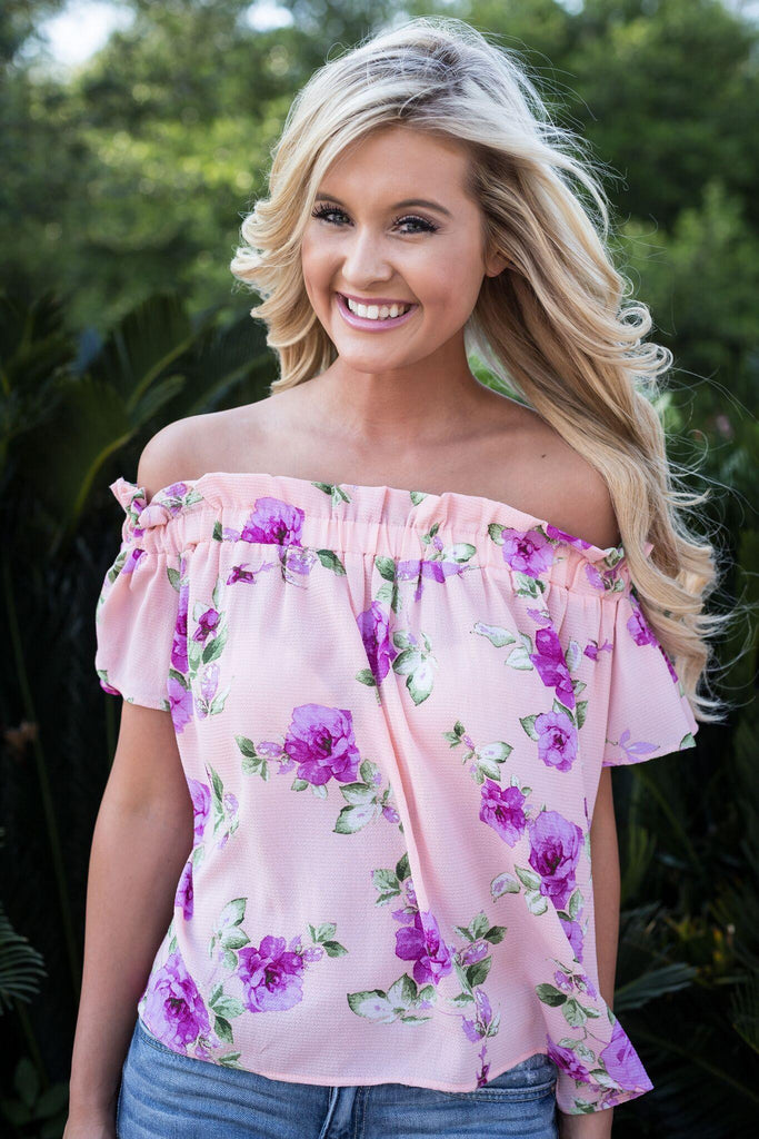 let them eat cake luau off the shoulder, let them eat cake, luau off the shoulder, Peace love cake, womens peach floral off the shoulder, floral off the shoulder top, off shoulder top, summer tops, let them eat cake tops, cs clothing co, c&s clothing co, online boutique, womens trendy fashion, womens affordable fashion, fast and free shipping, free shipping