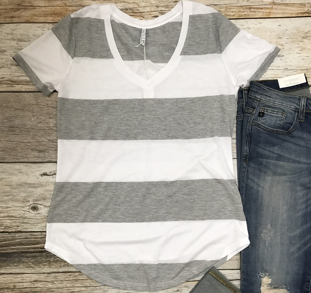heather gray striped tee, z supply striped tee, gray striped tee, z supply tees, z supply tshirts, v-neck striped tee, soft tees, free shipping