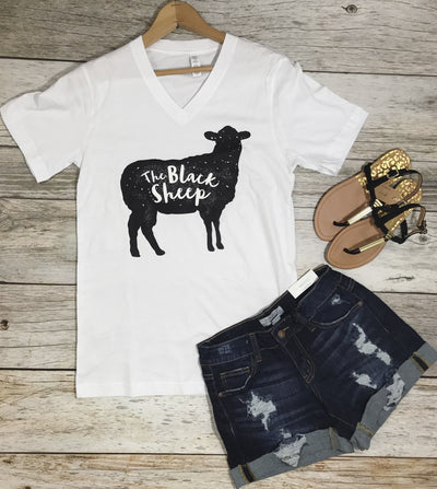 the black sheep tee, graphic tees, black sheep tees, womens graphic tees, funny graphic tees, free shipping