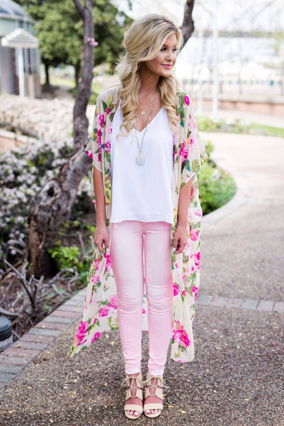 long floral duster, long floral kimono, pink floral kimono, pink floral duster, dusters, free shipping