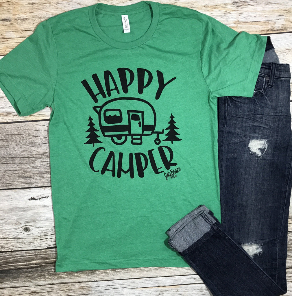 Happy Camper Tee- Green - Free Shipping - C&S Clothing Co.