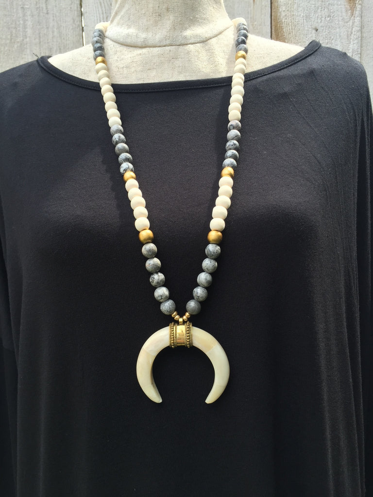 Bone horn necklace, nuetral necklace, beaded necklace, bone horn pendant, gray jasper beads, cream wood beads, crescent bone horn necklace, crescent moon necklace, beaded necklace, woman's jewelry, free shipping