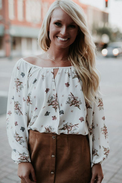 kierston top, womens floral off the shoulder top, let them eat cake tops, let them eat cake, womens trendy fashion, womens affordable fashion, online boutique, cs clothing co, c&s clothing co, fast and free shipping, free shipping