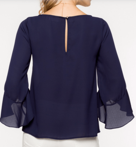 Navy bell top, navy bell blouse, bell sleeve blouse, bell sleeve top, figure hugging blouse, figure hugging top