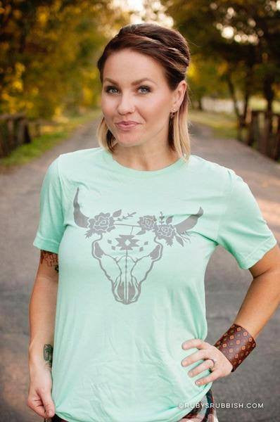 Steer Head Tee- Mint - Free Shipping - C&S Clothing Co.