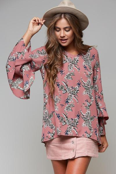 Women's floral blouse, fall floral blouse, mauve floral blouse, women's  floral top, cs clothing co, c&s clothing co, online boutique, fast and free shipping, free shipping