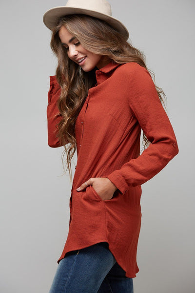 the arlo tunic, peach love california, womens rust tunic, womens affordable fashion, womens affordable clothing, womens trendy fashion, womens trendy clothing, online boutique, cs clothing co, c&s clothing co, free shipping, fast and free shipping