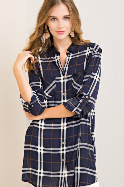 button up tunic, women's tunic, plaid tunic, women's plaid tunic, free shipping