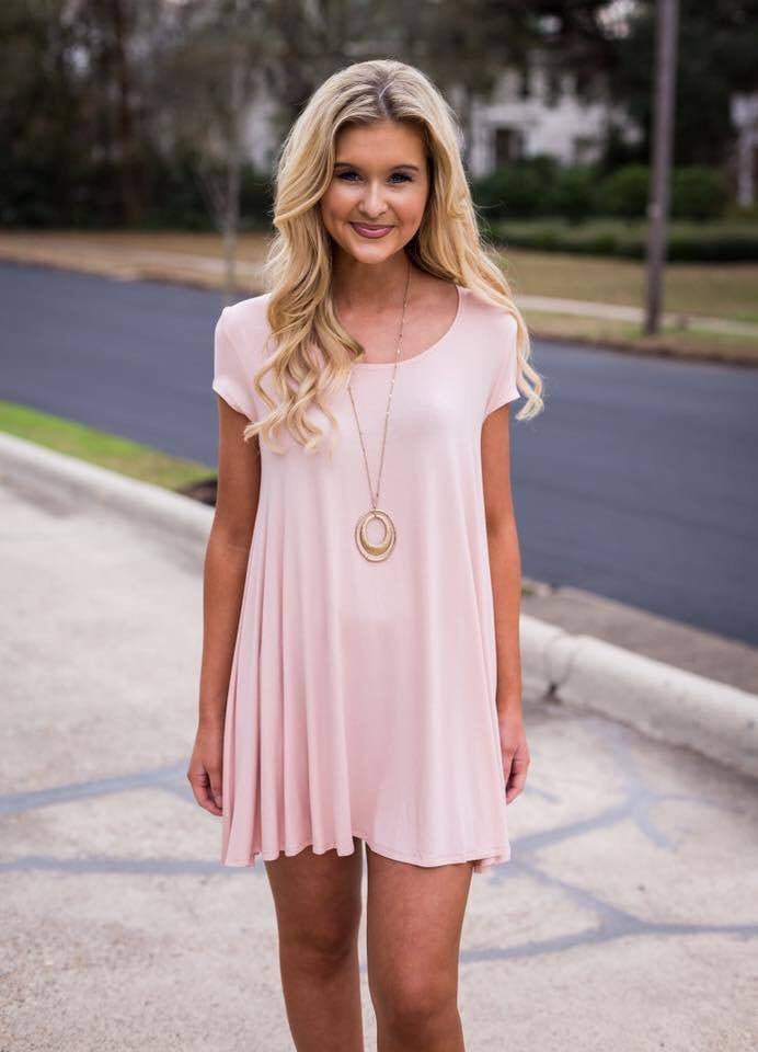 613c4a3fa8a5 Tea Party T-Shirt Dress- Light Pink – C S Clothing Co.