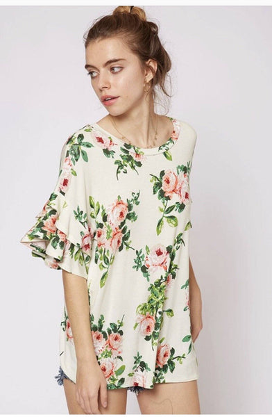 Floral Made Me Do It Top- Ivory