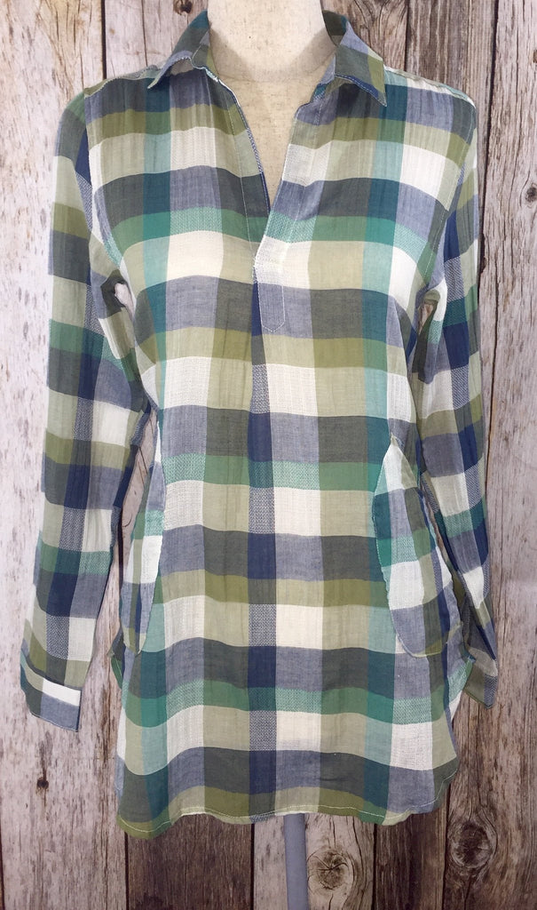 green plaid shirt, green button down, green tunic, womens button down, womens tunic, womens plaid shirt, plaid tunic with pockets, free shipping
