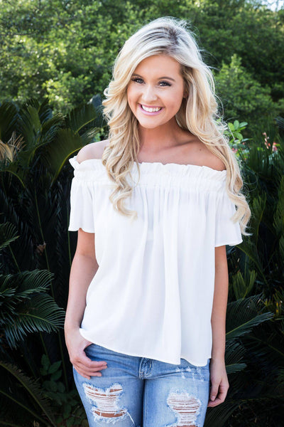 ivory off the should top, off white top, off shoulder top, summer top, free shipping