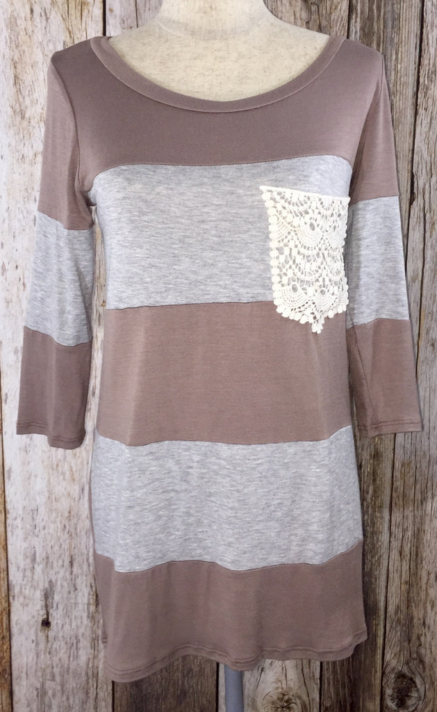 round neck tunic, mocha stripes tunic, striped tunic womens, crochet pocket tunic, 3/4 sleeve tunic, tunics, striped tunics, tunic with pocket, striped tunic with pocket, free shipping