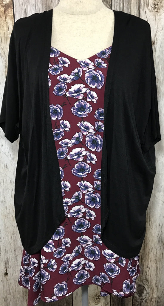 modal kimono, let them eat cake, let them eat cake kimono, womens basic black kimono, black kimono, short sleeve black sweater, lightweight black sweater, modal sweater, modal kimono, black modal kimono, womens trendy fashion, womens affordable fashion, online boutique, cs clothing co, c&s clothing co, fast and free shipping, free shipping