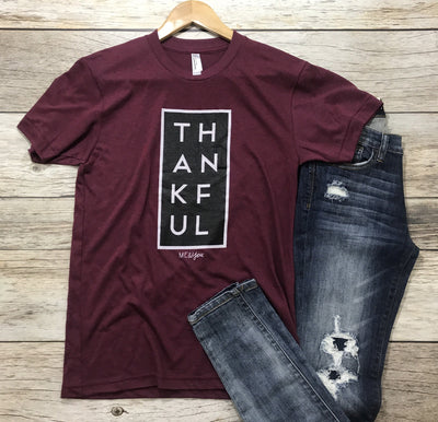 thankful tee, womens graphic tees, womens thankful tees, cs clothing co, c&s clothing co, online boutique, womens affordable fashion, free shipping, fast and free shipping