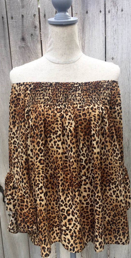 memphis top, peace love cake, peace love cake tops, womens cheetah off the shoulder, animal print top, printed off shoulder, off shoulder blouse, off shoulder top, long sleeve blouse, printed long sleeve, ruffle sleeve blouse, womens long sleeve top, ruffle sleeve top, printed ruffle sleeve, smock top, printed smock off the shoulder top, womens trendy fashion, womens affordable fashion, online boutique, cs clothing co, c&s clothing co, fast and free shipping, free shipping