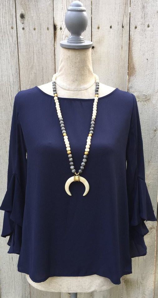 Navy bell top, navy bell blouse, bell sleeve blouse, bell sleeve top, flowy top, loose fitting top, navy loose fit top, navy loose fit blouse, free shipping