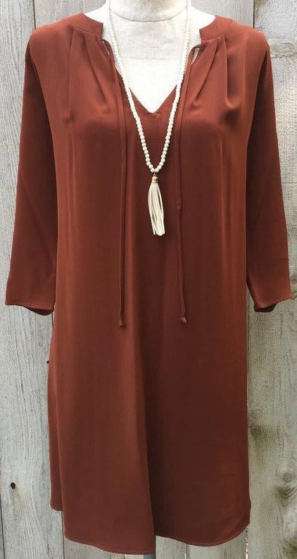 sienna dress, fall dress, dresses, 3/4 sleeve dress, fall collection dress, brown sienna dress, fall sienna dress, loose fit dress, rust colored dress, free shipping