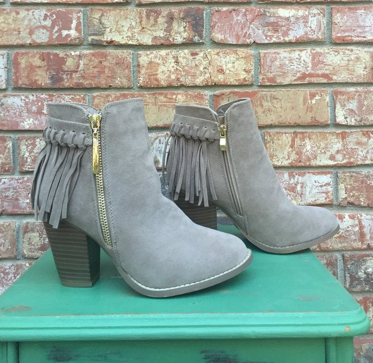 fringe booties, ankle high boots, fringe boots, ankle high booties, gray boots, gray booties,
