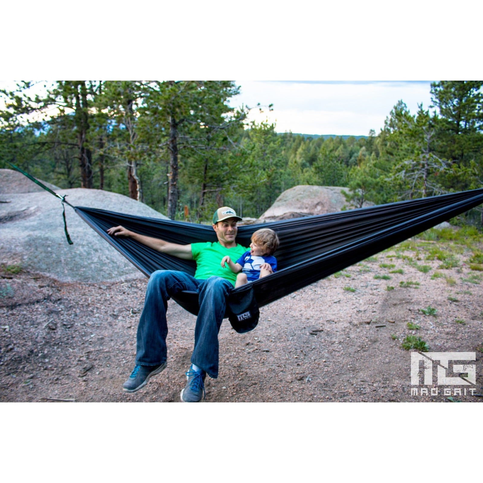 charcoal   black double camping hammock with tree straps   mad grit  rh   madgrit