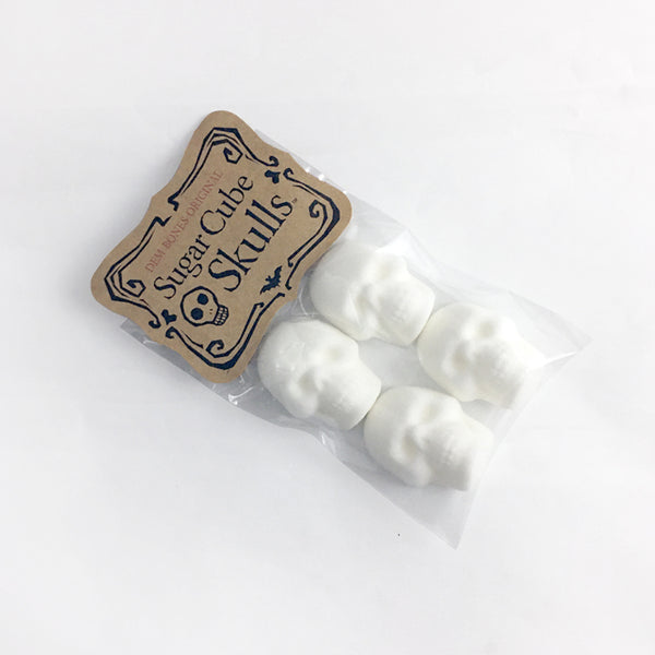 Skull Sugar Cubes, 4 Skulls stacked in Bag, Kraft Label, Sugar Cube Skulls, Dem Bones Original