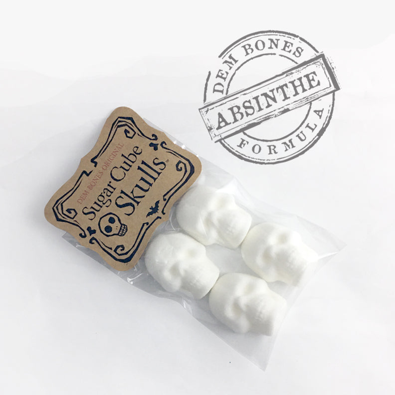 Bag of Sugar Cube Skulls with Kraft Hang tag, Rubber stamp on white background, words say Dem Bones Absinthe Formula