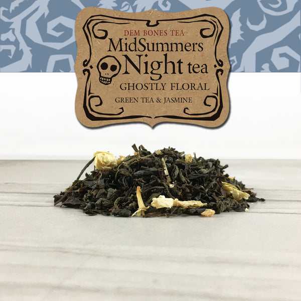 Jasmine Green Tea on tile background, Grey graphic band with kraft label, DemBones Tea, MidSummers Night Tea, Ghistly Floral, Green Tea and Jasmine