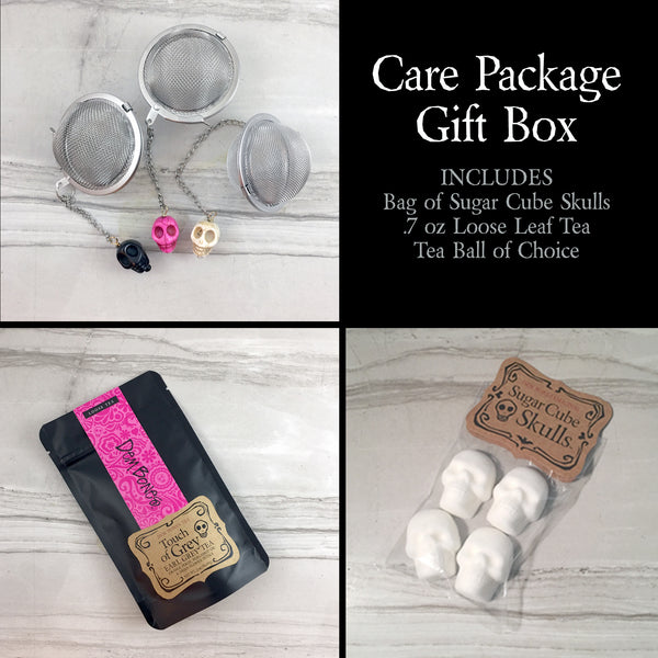 Care Package, Earl Grey Tea, Bag of Sugar Cube Skulls and Tea Ball with skull bead