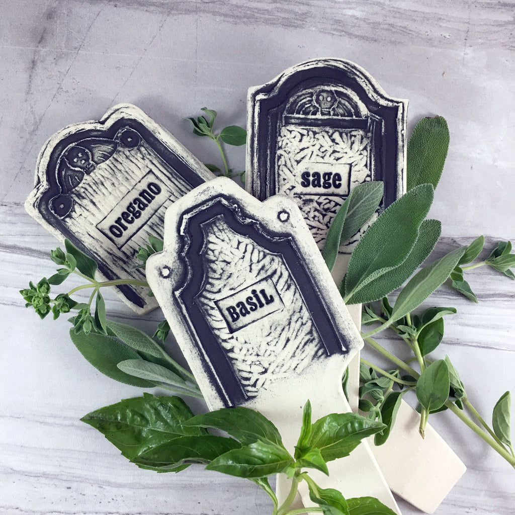 Ceramics tombstone shaped herb markers, fresh herbs scattered with Basil, Oregano, Sage Herb Markers