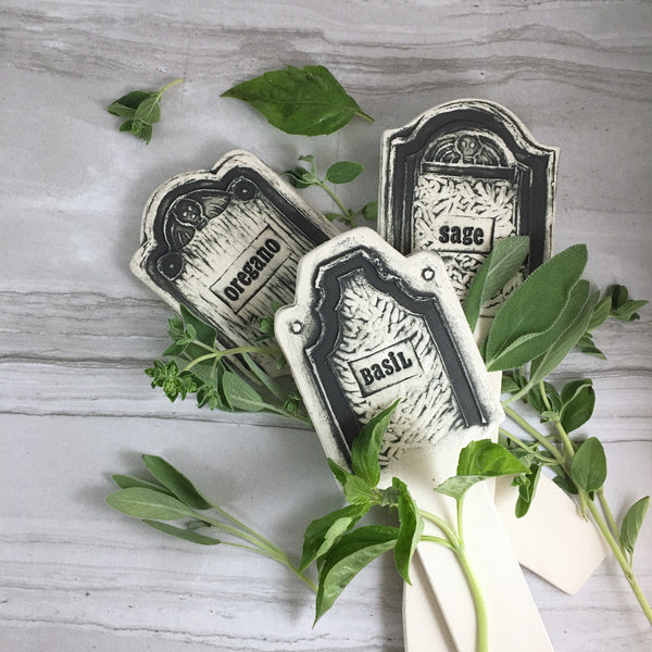 Oregano, basil and Sage ceramic herb markers, tombstone shaped, gothic garden