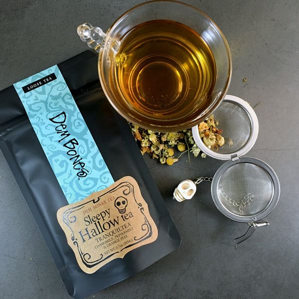 Loose Leaf Tea Gift Box / Sleepy Hallow Herbal Tea Care Package, Sugar Cubes & Tea Bag