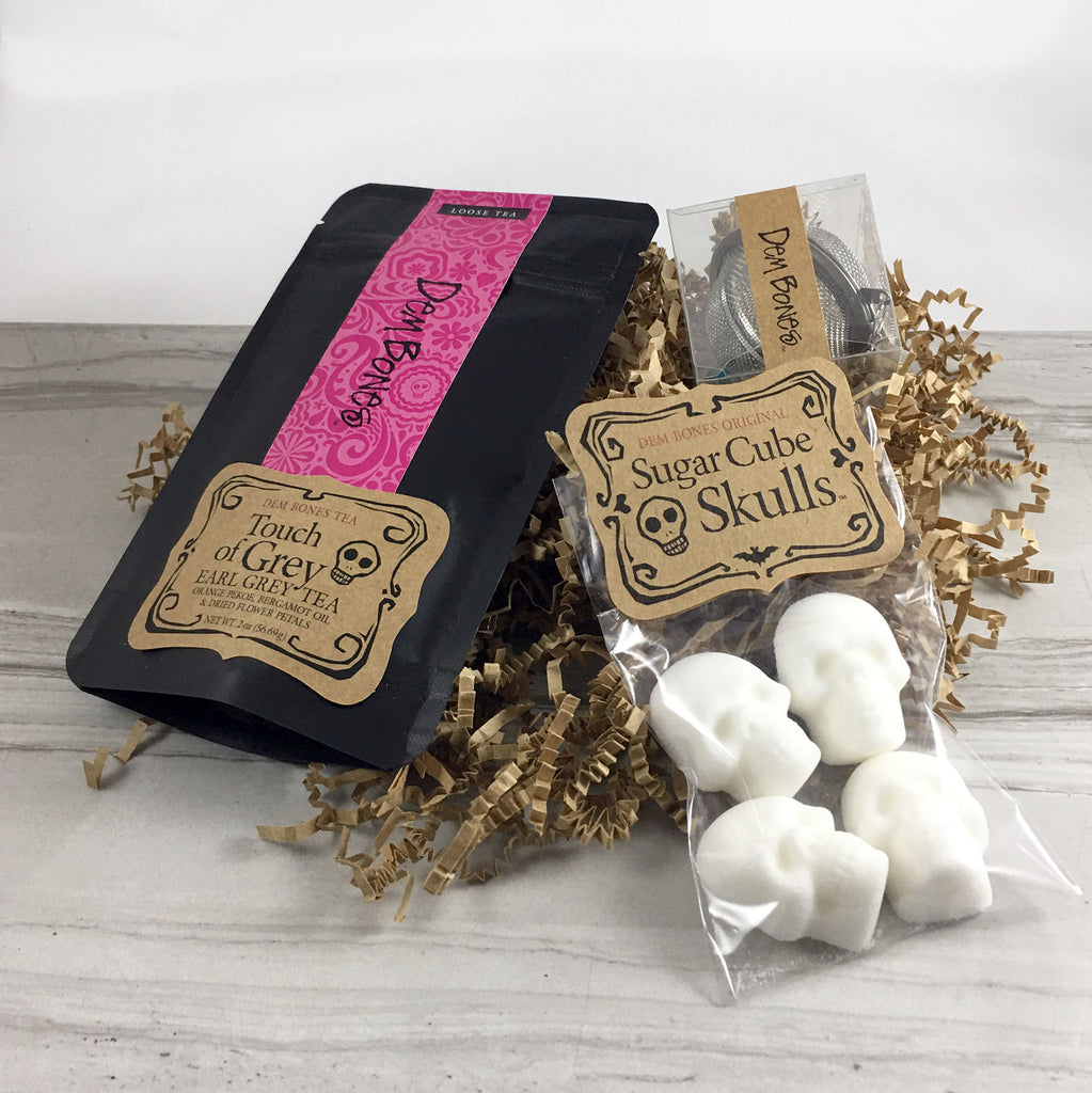 Tea in Black and Pink Bag, Skull Sugar Cubes, Tea Ball on crinkle