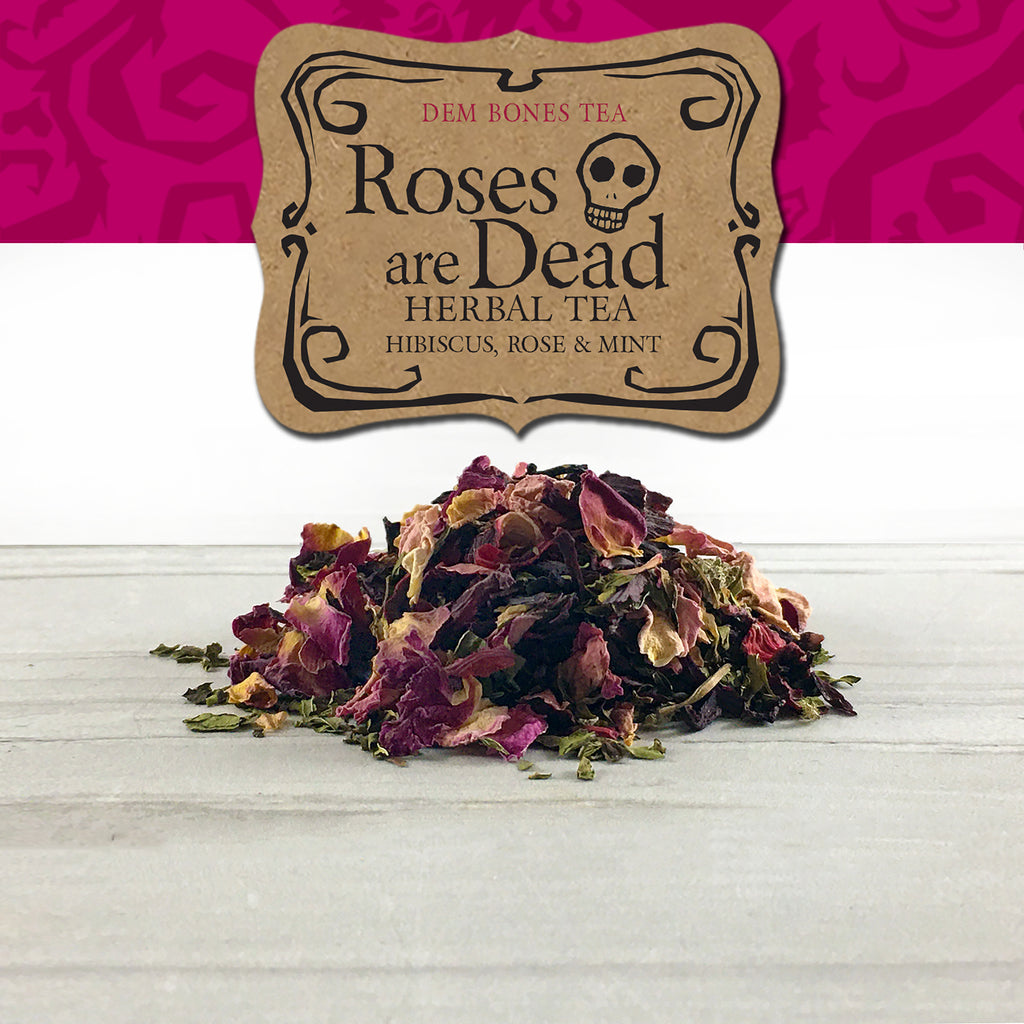 Kraft Label on Pink Graphics, Dem Bones Tea,  Roses Are Dead Herbal Tea, Hibiscus Rose & Mint, Skull , pile of herbal tea on white