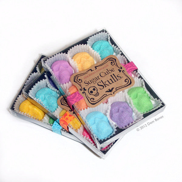 9 Pack Box, Sugar Cube Skulls, Bright Colors, Day of the dead, sugar skulls.