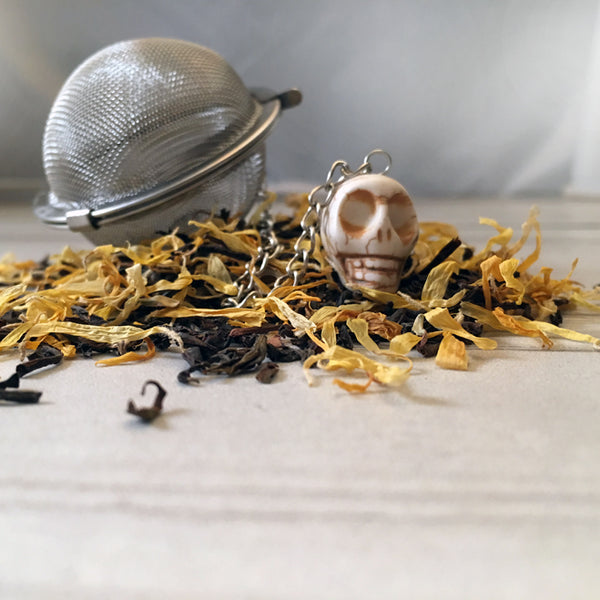 Tea Ball - White Skull