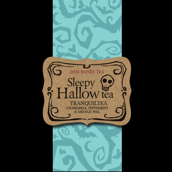 Black and turquoise color bands, kraft labels reads: DemBones Sleepy Hallow Tea, Tranquility, Chamomile, Peppermint. Orange Peel