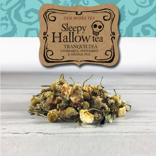 herbal tea on white background, kraft label reads: Dem Bones Sleepy Hallow Tea, Tranquility, Chamomile peppermint and orange peel tea, turquoise band