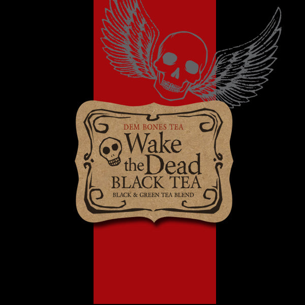 Black background with red band and skull with wings, Kraft Label, Dem Bones, Wake The Dead black tea, Black and green tea blend