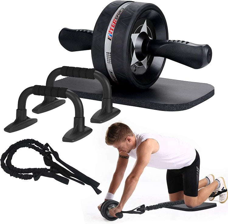 EnterSports Resisted Ab Roller & Pushup Set