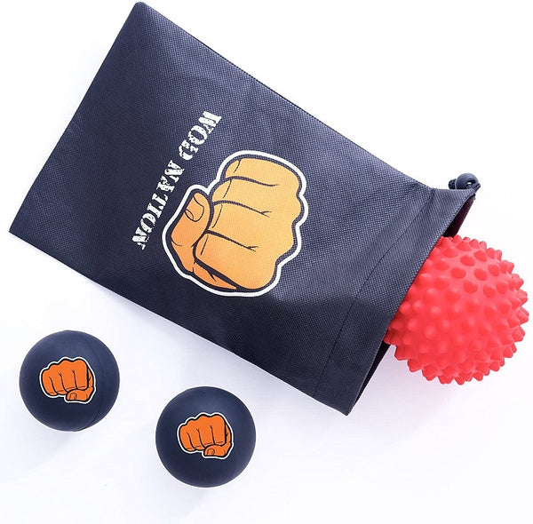 WOD Nation Massage Ball Set - 2 Solid Rubber Lacrosse Balls and 1 Trigger Point Deep Tissue Spiky BallWOD Nation Massage Ball Set - 2 Solid Rubber Lacrosse Balls and 1 Trigger Point Deep Tissue Spiky Ball