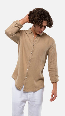 Tennyson Linen Long sleeve Shirt - Taupe