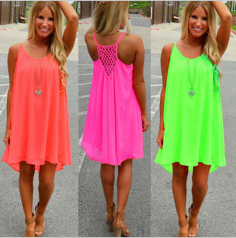 hot Women Dresses Sexy Summer Casual Sleeveless Chiffon Hollow Out Party Beach Dress vestidos plus size women clothing