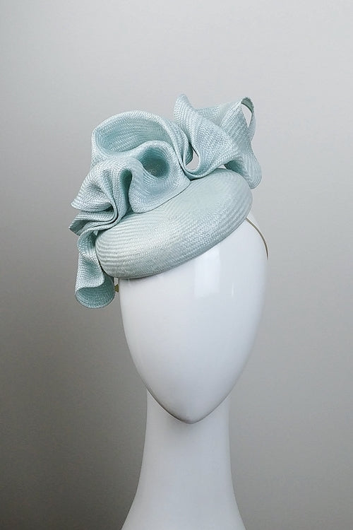 Fascinator Hat Pale Mint Sculptured Parasisal Straw Marconi Designs  Millinery 7957df22b45