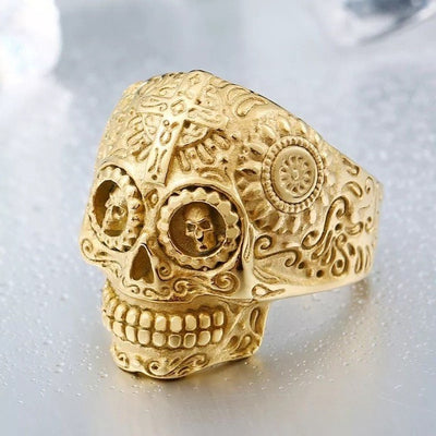 "Item Hunters 8 / full gold colour / US SIZE ""The Ancient King"" Skull Ring"